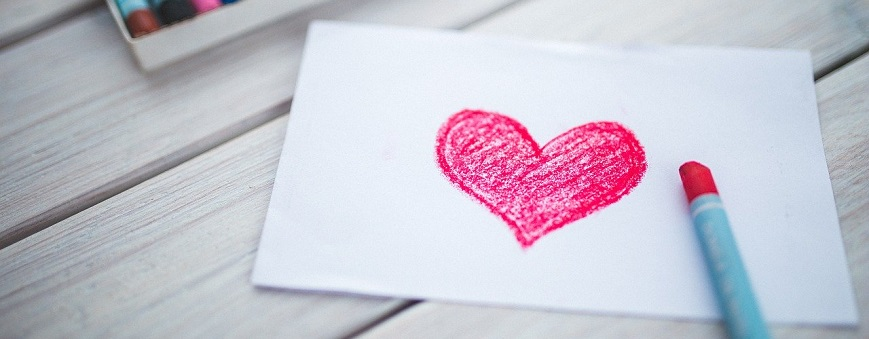 Note Card with crayon and red heart